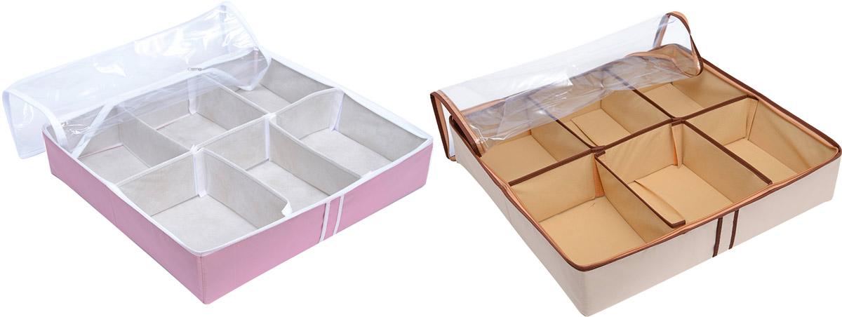 Набор органайзеров Homsu, 12 ячеек, 2 штDEN-27Набор органайзеров предназначен для удобного и компактного хранения обуви. Шесть отделений каждого органайзера размером 10см на 7см вмещают 6 пар обуви. Органайзеры плоские, их удобно хранить под кроватью или диваном. Внутренние секции можно моделировать под размеры обуви, например высокие сапоги. Они имеют жесткие борта, что является гарантией сохраности вещей. 540х510х130; 540х510х130