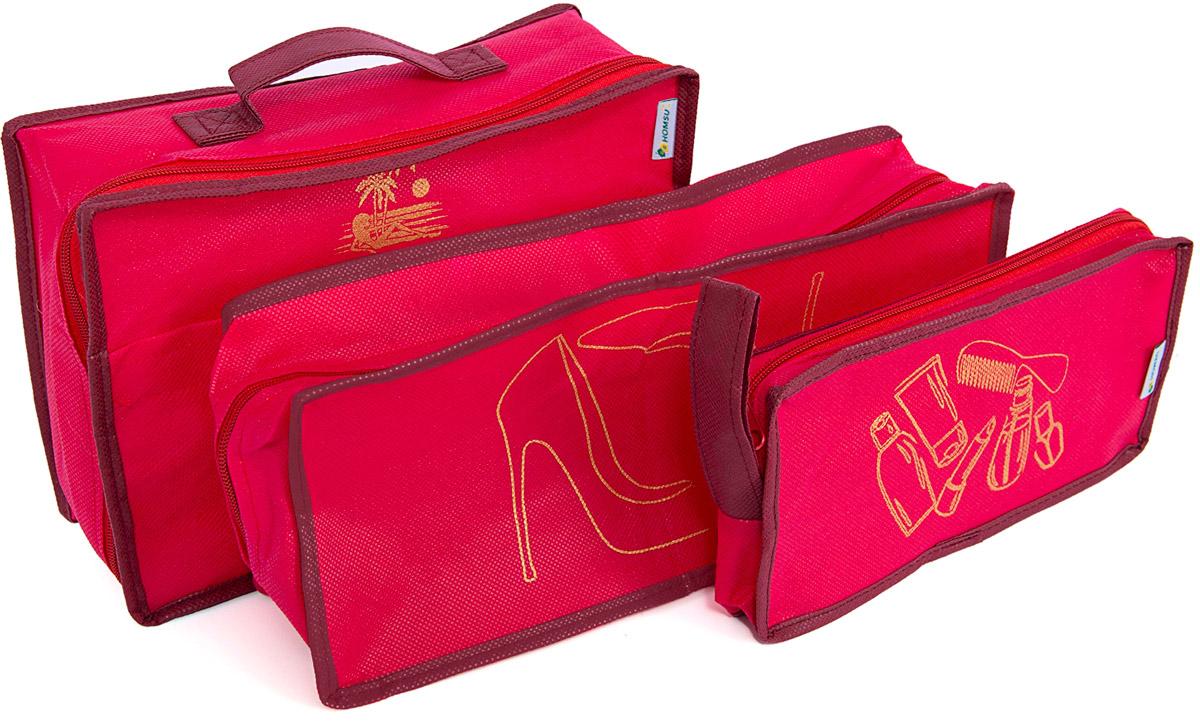 Набор органайзеров Homsu, для путешествия, цвет: красный, 3 предметаDEN-31Вместе с оригинальным современным дизайном такой дорожный комплект органайзеров принесёт также очень существенную практическую пользу в любом путешествии. Благодаря трем сумочкам разных размеров: 25x12x5 см; 28x20x9 см и 35x15x11 см вы сможете распределить все вещи, которые возьмёте с собой таким образом, чтобы всегда иметь быстрый доступ к ним, и при этом надёжно защитить от пыли, грязи, влажности или механических повреждений. Все предметы данного комплекта изготовлены из прочных и качественных материалов. 250x120x50; 280x200x90; 350x150x110
