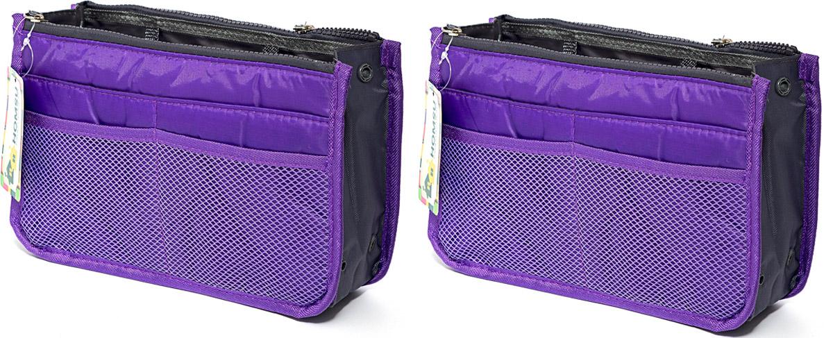 Набор косметичек Homsu, цвет: фиолетовый, 28 х 10 х 17 см, 2 штDEN-35Модный и стильный современный дизайн, а также высокая практичная польза – в этих органайзерах очень органично объединены несколько плюсов. Изделия обладают крепкой ручкой, поэтому их легко можно использовать и отдельно от сумки. Если же вставить органайзеры в сумку, вы получите превосходную возможность раз и навсегда навести в ней идеальный порядок, который будет легко поддерживать, распределив все вещи по отдельным кармашкам. 280x100x170; 280x100x170