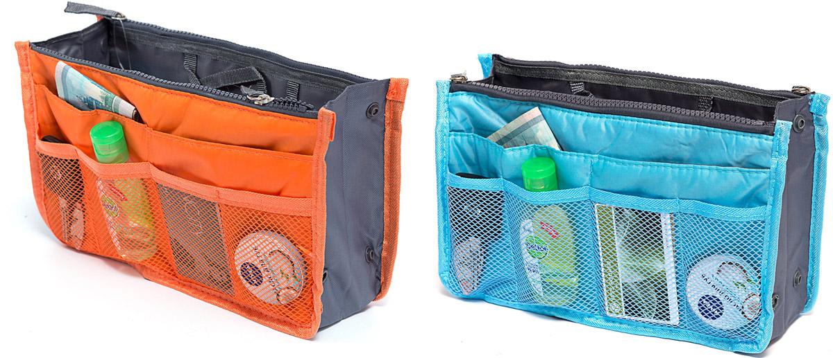 Набор косметичек Homsu, цвет: голубой, оранжевый, 28 х 10 х 17 см, 2 штDEN-39Модный и стильный современный дизайн, а также высокая практичная польза – в этих органайзерах очень органично объединены несколько плюсов. Изделия обладают крепкой ручкой, поэтому их легко можно использовать и отдельно от сумки. Если же вставить органайзеры в сумку, вы получите превосходную возможность раз и навсегда навести в ней идеальный порядок, который будет легко поддерживать, распределив все вещи по отдельным кармашкам. 280x100x170; 280x100x170