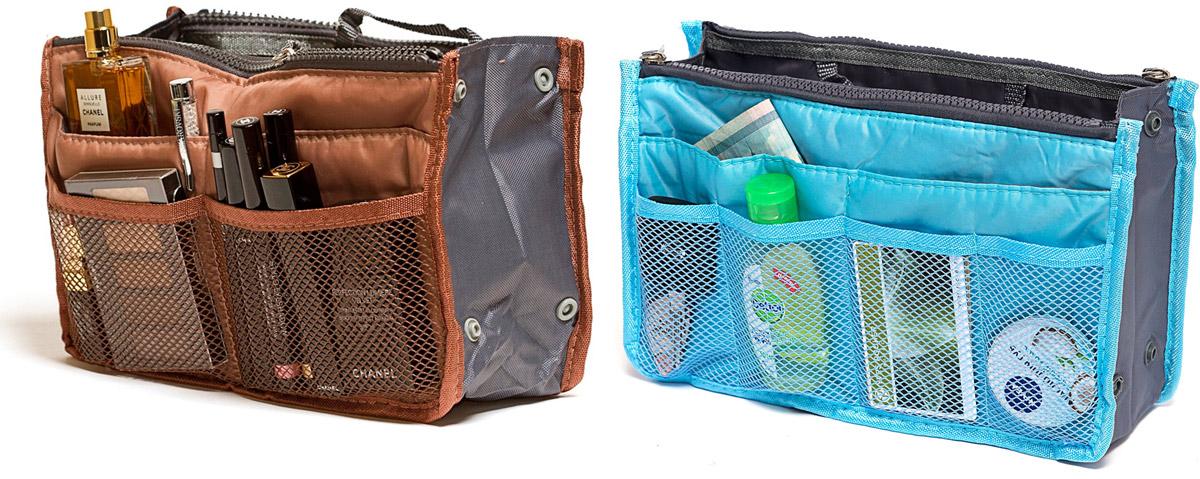 Набор косметичек Homsu, цвет: голубой, коричневый, 28 х 10 х 17 см, 2 штDEN-40Модный и стильный современный дизайн, а также высокая практичная польза – в этих органайзерах очень органично объединены несколько плюсов. Изделия обладают крепкой ручкой, поэтому их легко можно использовать и отдельно от сумки. Если же вставить органайзеры в сумку, вы получите превосходную возможность раз и навсегда навести в ней идеальный порядок, который будет легко поддерживать, распределив все вещи по отдельным кармашкам. 280x100x170; 280x100x170