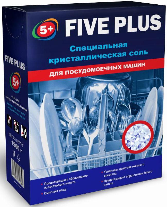 Соль для посудомоечных машин 5+ Five Plus, 1,5 кг46029840117595+ FIVE PLUS соль для посудомоечных машин. Крупнокристаллическая соль для посудомоечных машин обладает комплексным действием: предотвращает образование известкового налёта, смягчает воду и усиливает действие моющего средства. Регулярное использование защитной соли продлевает срое эксплуатации посудомоечной машины.