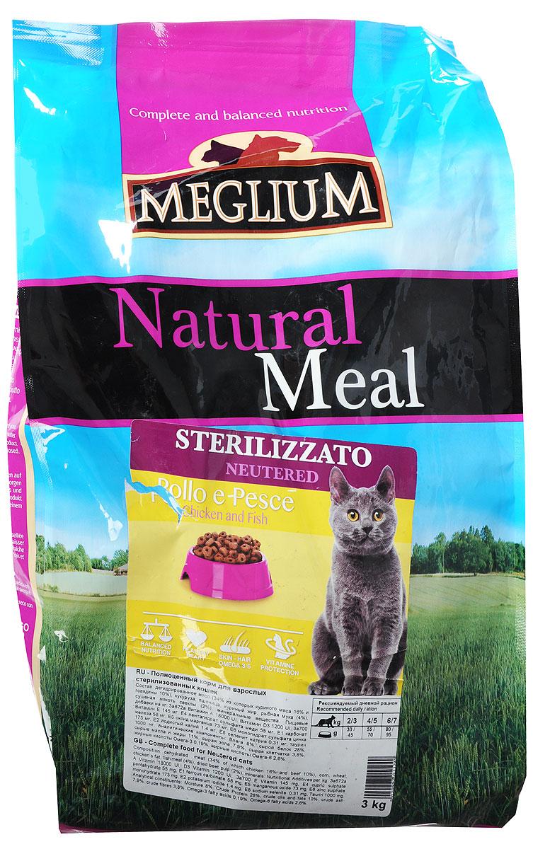 Корм сухой Meglium Neutered для стерилизованных кошек, с курицей и рыбой, 3 кгMGS1203Сбалансированный корм с оптимальным соотношением белков и углеводов специально разработан для стерилизованных кошек. Содержит жизненноважные витамины и минералы.