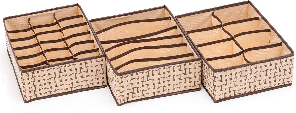 Набор органайзеров Homsu Ностальгия, 3 штDEN-69Этот комплект состоит из удобных органайзеров для дома. Они отлично подойдут для хранения самых разнообразных вещей. 310x240x110; 310x240x110; 310x240x110