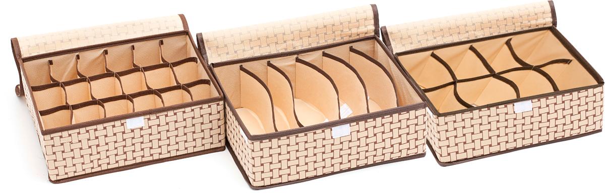 Набор органайзеров Homsu Ностальгия, с крышкой, 3 штDEN-70Этот комплект состоит из удобных органайзеров для дома. Они отлично подойдут для хранения самых разнообразных вещей. 310x240x110; 310x240x110; 310x240x110