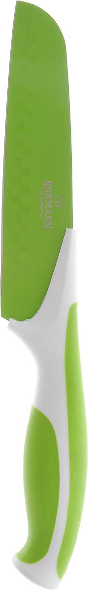 Нож сантоку Bohmann, цвет: салатовый, белый, длина лезвия 15 см5219BHНож сантоку Bohmann имеет лезвие из высококачественной нержавеющей стали. Специальное покрытие Non-stick предотвращает прилипание продуктов и делает нарезку более эффективной и быстрой. Лезвие устойчиво к царапинам, не ржавеет и не оставляет запаха металла на еде. Цветное покрытие не выгорает и не шелушится в повседневном использовании. Рукоятка ножа выполнена из пластика и снабжена прорезиненными вставками для надежного хвата и комфортной резки. Длина ножа: 27,5 см.