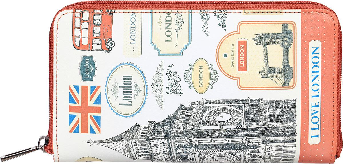 Портмоне женское Befler London, цвет: белый, серый, красный. PJ.165.-7PJ.165.-7Портмоне Befler из коллекции «London» выполнено из натуральной кожи и оформлено оригинальным принтом. Закрывается на молнию. Внутри расположено 2 отделения для купюр, отделение для мелочи на молнии, 2 накладных кармана с отделениями для кредитных карт.