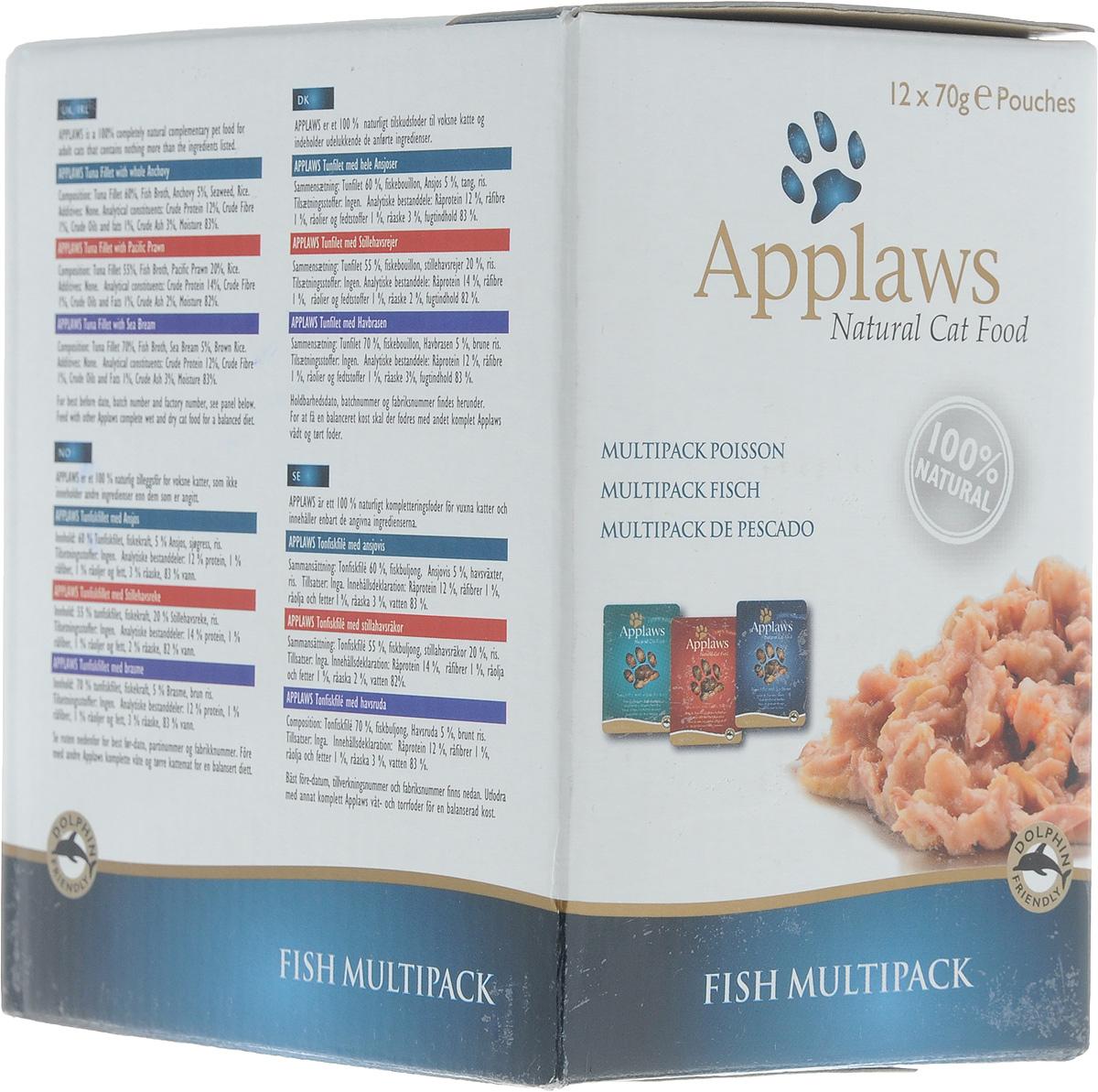 Консервы для кошек Applaws Рыбное ассорти, 12 шт по 70 г, 840 г (возврат поставщику)20759