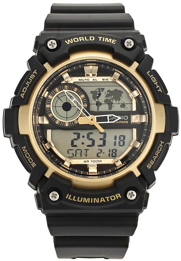 Наручные часы мужские Casio Collection, цвет: черный, золотой. AEQ-200W-9AAEQ-200W-9A