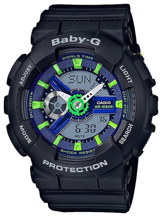Наручные часы женские Casio Baby-G, цвет: черный, зеленый. BA-110PP-1ABA-110PP-1A
