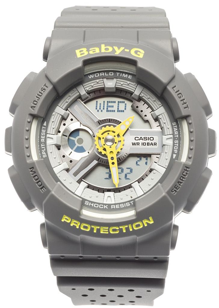 Наручные часы женские Casio Baby-G, цвет: серый, желтый. BA-110PP-8ABA-110PP-8A