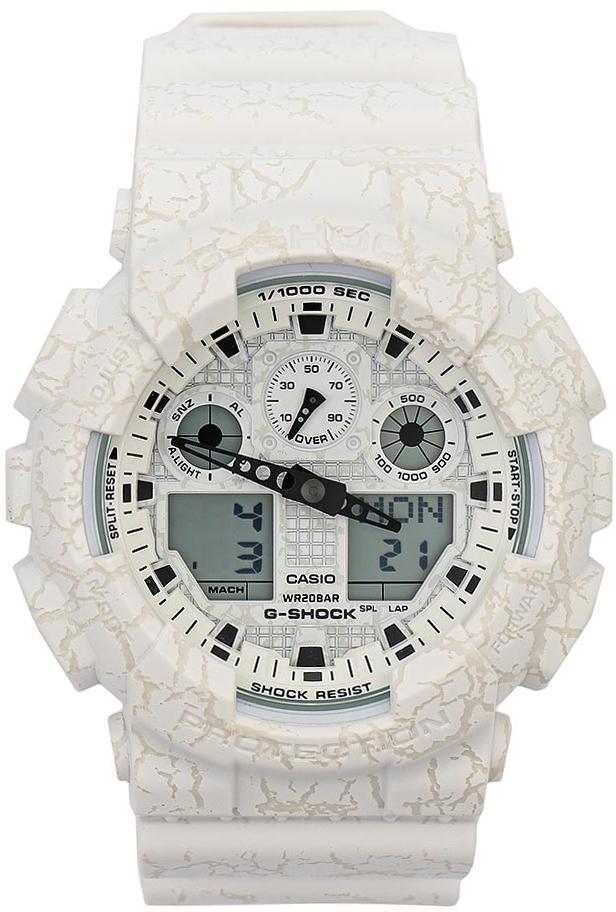 Наручные часы мужские Casio G-Shock, цвет: белый. GA-100CG-7AGA-100CG-7A