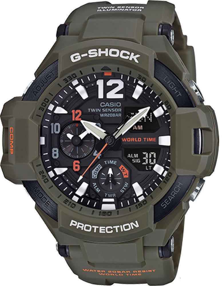 Наручные часы мужские Casio G-Shock, цвет: хаки, черный. GA-1100KH-3AGA-1100KH-3A