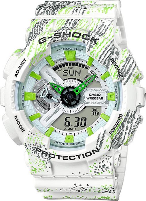 Наручные часы мужские Casio G-Shock, цвет: белый, салатовый. GA-110TX-7AGA-110TX-7A