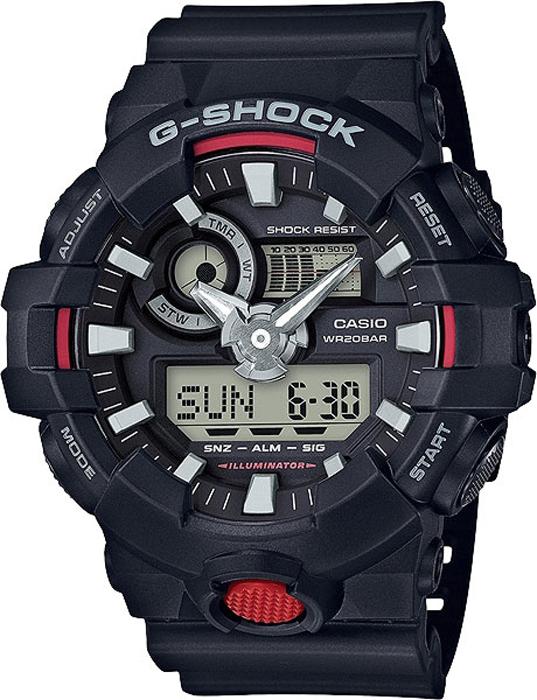 Наручные часы мужские Casio G-Shock, цвет: черный, красный. GA-700-1AGA-700-1A