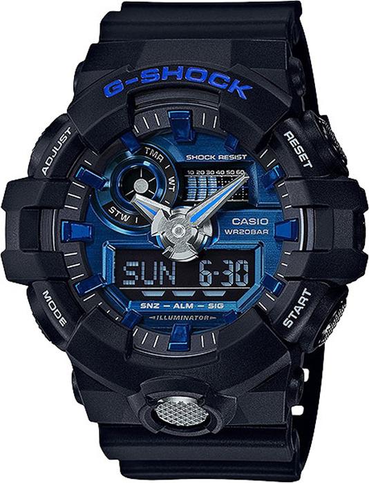 Наручные часы мужские Casio G-Shock, цвет: черный, синий. GA-710-1A2GA-710-1A2
