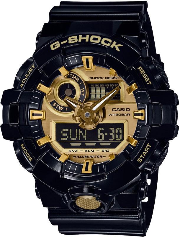 Наручные часы мужские Casio G-Shock, цвет: черный, золотой. GA-710GB-1AGA-710GB-1A