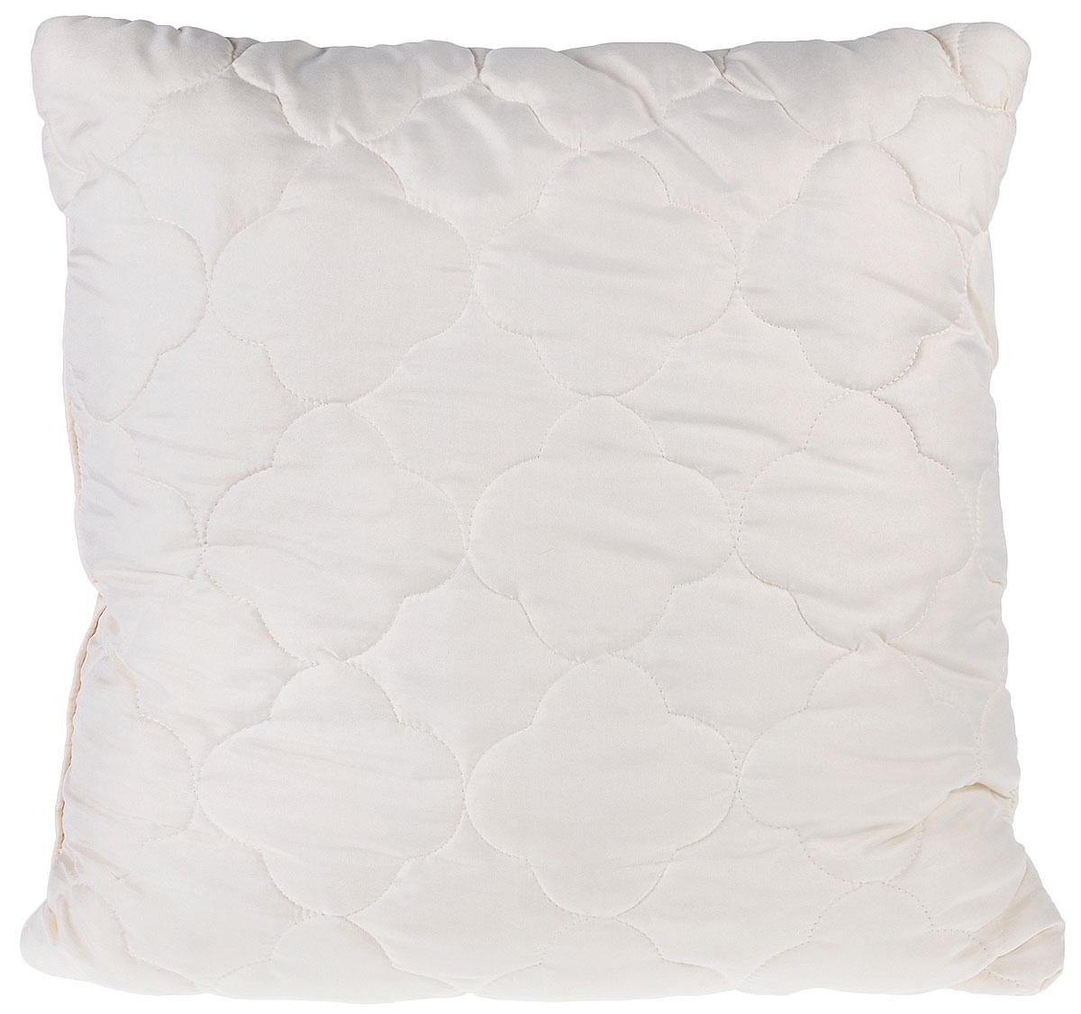 Подушка Lara Home Wool, наполнитель: овечья шерсть и силиконизированное волокно, цвет: бежевый, 68 х 68 см85274Подушка Lara Home Wool подарит комфорт и уют во время сна. Чехол, выполненный из микроволокна (100% полиэфира), оформлен фигурной стежкой и надежно удерживает наполнитель внутри. Наполнитель выполнен из силиконизированного волокна и овечьей шерсти породы меринос. Особенности подушки: Высокая воздухопроницаемость. Необычайная мягкость и легкость. Обеспечивает хорошую терморегуляцию.