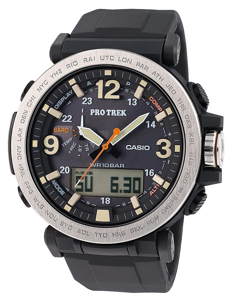 Наручные часы мужские Casio Pro Trek, цвет: черный, стальной. PRG-600-1EPRG-600-1E