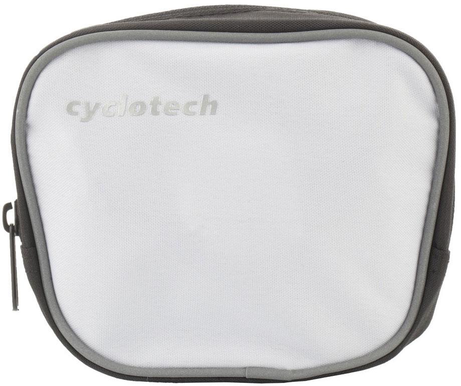 Велосумка на руль Cyclotech, цвет: белый, черный, серыйCYC-7WВелосипедная сумка Cyclotech выполнена из высококачественного прочного полиэстера. В ней можно перевозить инструменты, ключи и другие небольшие личные вещи. Сумка оснащена светоотражающей полосой, что повышает вашу безопасность на дорогах. Сумка закрепляется на руле при помощи 3 липучек. Изделие оснащено 1 отделением на застежке-молнии. На передней части расположен сетчатый кармашек, закрывающийся на липучку.