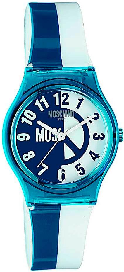 Наручные часы для девочки Moschino, цвет: белый, синий. MW0313MW0313Наручные часы Moschino, кварцевые, корпус из пластика