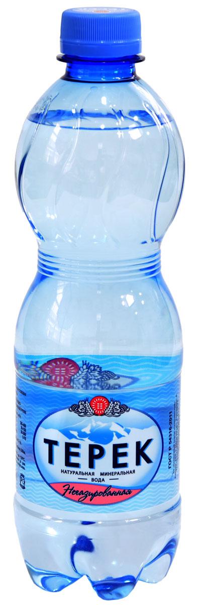 Терек вода минеральная, негазированная, 12 х 0,5 л232-01Натуральная минеральная столовая вода, имеет природное происхождение. По микроэлементному составу полностью идентична хлоридно-гидрокарбонатным минеральным водам Кавказа. Рекомендована к регулярному использованию для питья и приготовления пищи. Не содержит каких либо вредных и токсичных элементов, способствует очищению организма от шлаков, улучшает обмен веществ, повышает иммунитет. Скважина № 81214, глубина 260 метров.