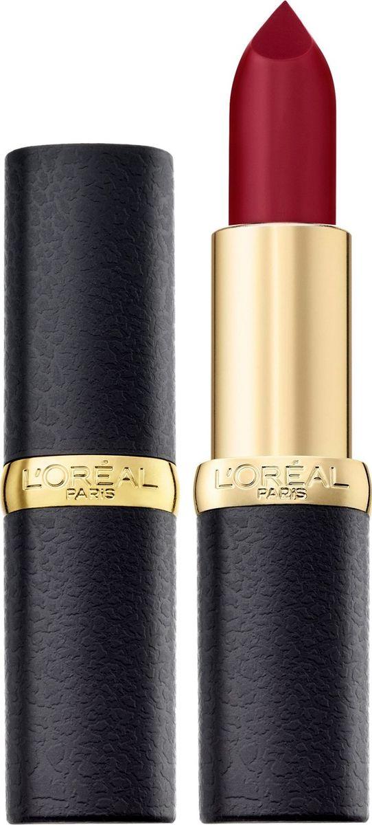 LOreal Paris Матовая губная помада Color Riche, оттенок 430, Бордовый поворот, 4,5 млA9109100Насыщенные оттенки помад для губ Колор Риш для абсолютно матового результата. Ухаживающая формула создает матовый эффект на губах, увлажняя их: масло камелии способствует комфортному нанесению помады, масло жожоба позволяет продукту долго оставаться на губах и не выходить за их контур. 10 самых матовых оттенков. Чувственные, изысканные, с Парижским шиком.