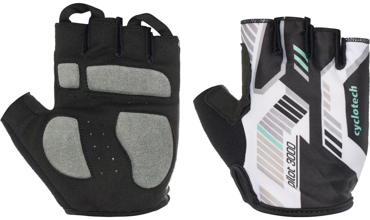 Велоперчатки Cyclotech Pilot, цвет: черный, белый, зеленый. Размер SPILOT-OВелоперчатки Cyclotech Pilot отлично садятся по руке. Ладонь выполнена из полиамида и дополнена объемными вставками, тыльная сторона изготовлена из эластана и хлопка. Благодаря резинке перчатки легко надевать. Перчатки хорошо вентилируются, не дают руке скользить на руле и гасят неприятные вибрации.