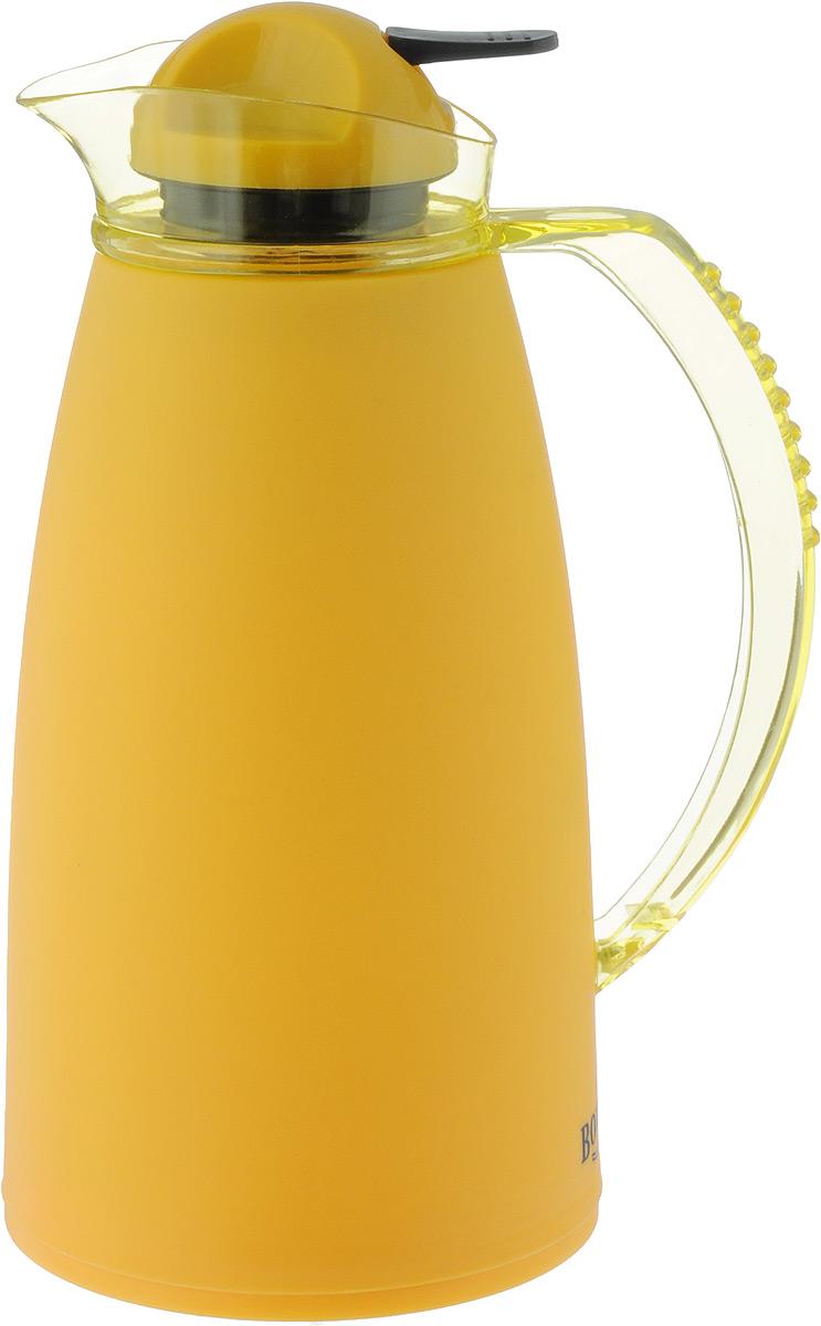 Термос Bohmann, с носиком, цвет: желтый, 1 л4612BH/YLТермос Bohmann выполнен из яркого безопасного пластика. Двойные стенки сохраняют температуру напитков длительное время. Внутренняя колба выполнена из прочного качественного стекла. Термос снабжен плотно прилегающей закручивающейся пластиковой пробкой с нажимным клапаном. Для того чтобы налить содержимое термоса нет необходимости откручивать пробку. Достаточно надавить на клапан, расположенный в центре. Изделие оснащено удобной ручкой и насадкой в виде носика кувшина. Высота термоса (с учетом крышки): 28 см. Диаметр горлышка: 3,5 см.