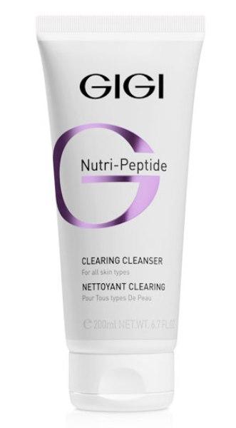 GIGI Пептидный очищающий гель Nutri-Peptide Clearing Cleanser, 200 млgi11500Нежно и эффективно удаляет Для всех типов кожи виды загрязнений, остатки косметики и кожный жир. Мягко очищает и освежает, не создавая ощущения сухости. Подходит для Для всех типов кожи. Укрепляет защитный липидный барьер. Подходит как для домашнего использования так и в качестве очищающего средства перед процедурами в салоне. Активные ингредиенты: X50 PHOTOGLOW, лимонная кислота, глицерин, аллантоин.