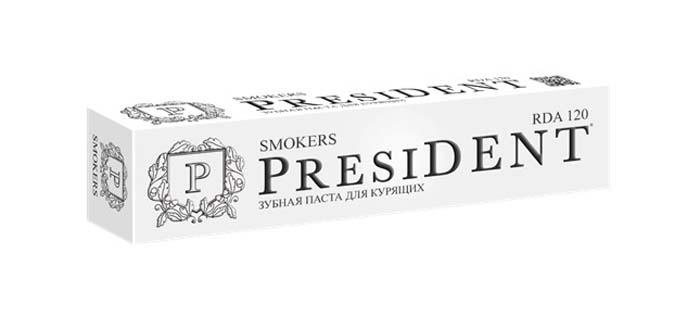 President зубная паста Smokers, 75 мл11060Зубная паста для курильщиков. Лайм осветляет эмаль Мята и Петрушка – экстрасвежее дыхание. Пудра бамбукового угля эффективно очищает и бережно отбеливает. Фтор укрепляет эмаль и защищает от кариеса.