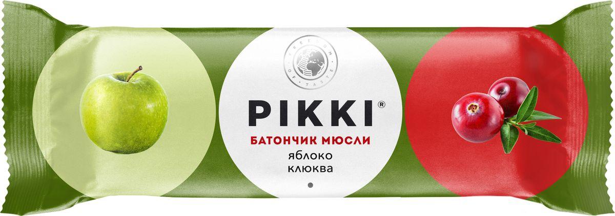 Pikki Мюсли Яблоко-Клюква батончик орехово-фруктовый, 50 гУТ040810421Полезные снеки из орехов, злаков и сухофруктов для быстрого перекуса.