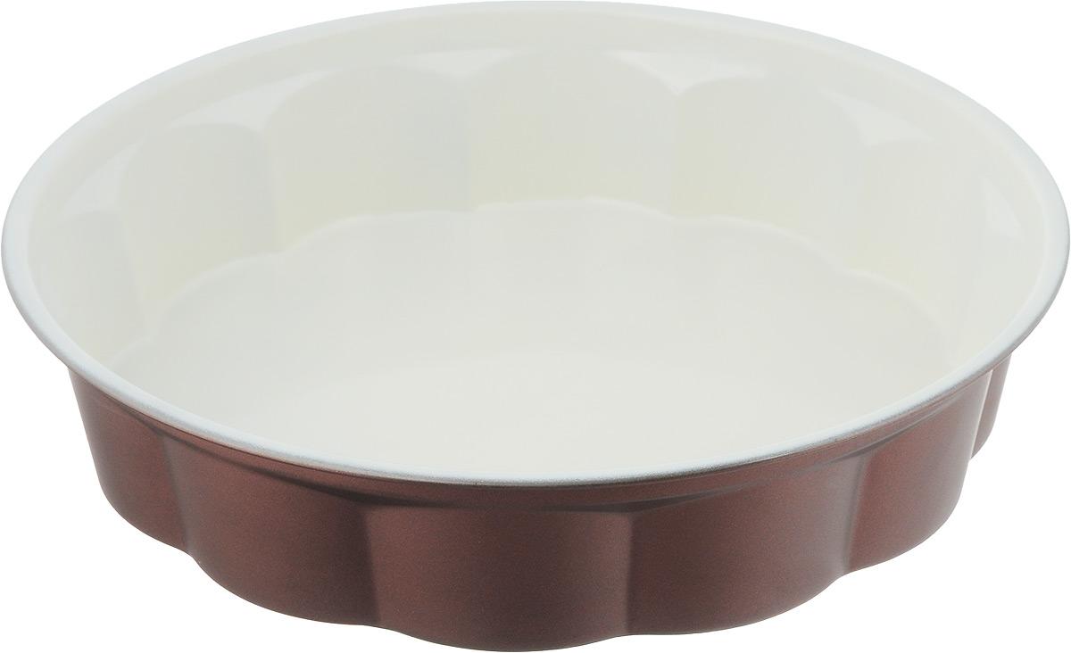 Форма для выпечки Termico EcoCeramo, круглая, с керамическим покрытием, диаметр 27,5 см220414Покрытие изготовлено на основе керамических частиц без использования тяжелых металлов. Посуда с керамическим покрытием легко моется, устойчива к возникновению царапин, покрытие хорошо скользит. Керамическое покрытие не вступает в реакцию с щелочами и пищевыми кислотами, выдерживает высокие температуры, обладает хорошими антипригарными свойствами.