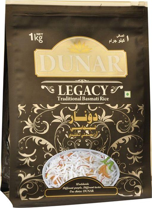 Dunar Legacy традиционный басмати рис, 1 кгДунар 1Традиционный самый ароматный индийский рис басмати, выдержка риса 2 года, длина зерна в приготовленном виде 15 мм