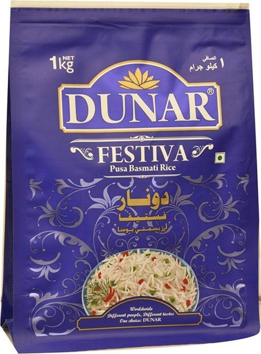Dunar Festiva воздушный басмати рис, 1 кгДунар 18Самый воздушный рис басмати, выдержка риса 2 года, длина риса в приготовленном виде 15,5 мм