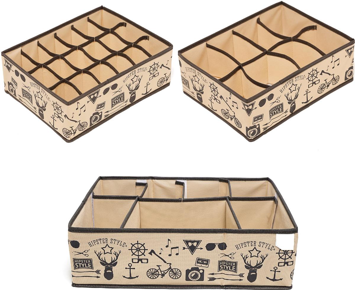 Набор органайзеров Homsu Hipster Style, 31 х 24 х 11 см, 3 штDEN-85Этот комплект состоит из прямоугольного и плоского органайзера с 18 раздельными ячейками 7см на 5см , прямоугольного и плоского органайзера с 8 раздельными ячейками 12см на 8см и супер универсального органайзера с секциями разного размера, которые несомненно наведут порядок в любом ящике комода или на полке. Они очень удобны для хранения мелких вещей. Идеально подойдут для носков, платков, галстуков и других вещей ежедневного пользования. Имеют жесткие борта, что является гарантией сохраности вещей. 310x240x110; 310x240x110; 340x440x110