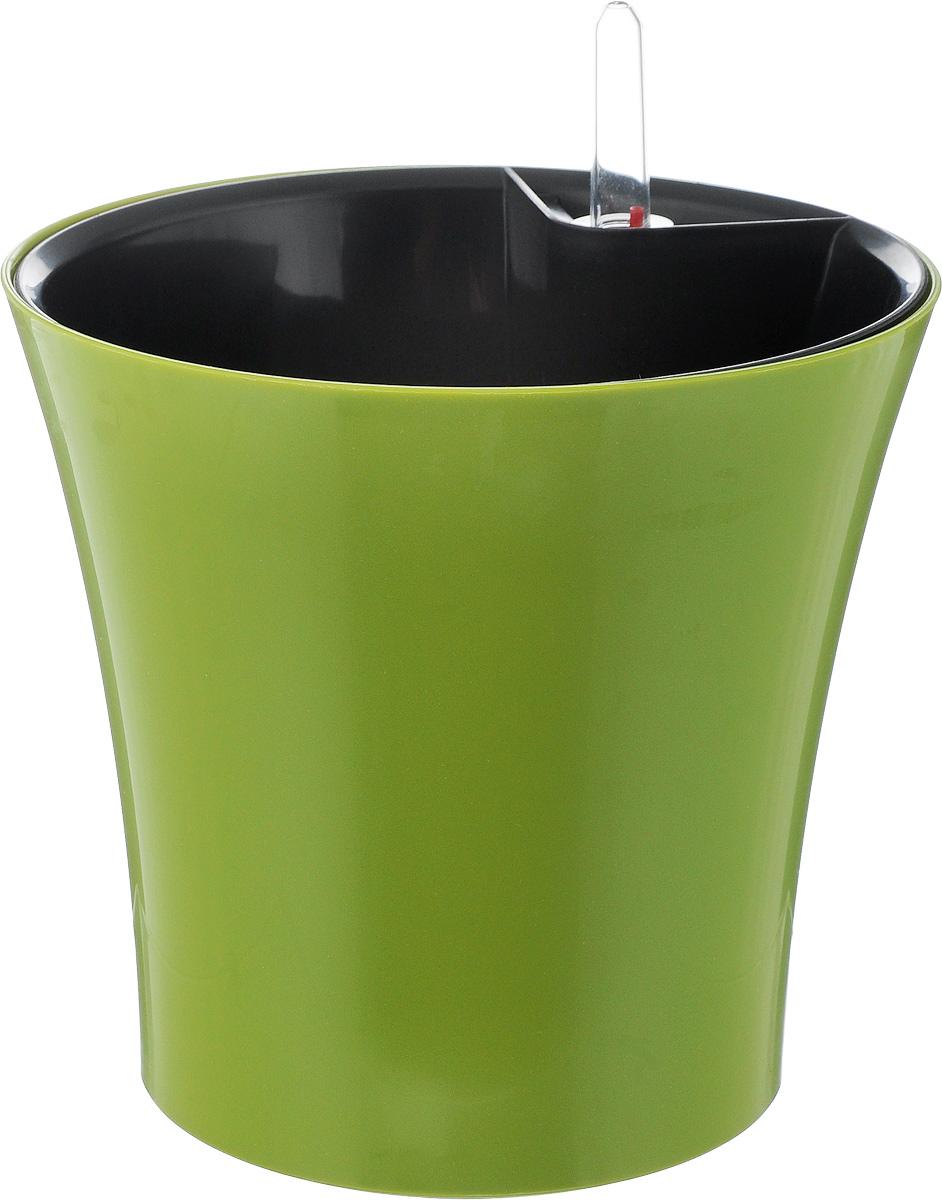 Горшок для цветов Техоснастка Комфорт, с автополивом, цвет: оливковый, 2,5 лПИ-24-6ТХГоршок с автополивом Техоснастка Комфорт - настоящая находка для людей, которые любят живые растения, но в силу нехватки времени не могут обеспечить им своевременный полив. Изделие выполнено из высококачественного полипропилена. Система автополива работает по принципу капиллярного поднятия жидкости к корням растения. Устроен такой горшок следующим образом: в основной горшок устанавливается съемный горшок, в котором находятся водовод и земельный субстрат, обеспечивающие доставку воды к корням, сбоку - поливочные отверстия и индикатор уровня воды. В первые недели после посадки растения в горшок вода поливается обычным способом, чтобы земля и корни напитались влагой. Она наливается во внешнюю часть горшка в поливочные отверстия и по фитилю поднимается вверх, увлажняя грунт, одного полива хватает примерно на 2-3 недели (это зависит от растения, времени года и климатических условий окружающей среды). Затем следят за индикацией уровня воды. Растение...