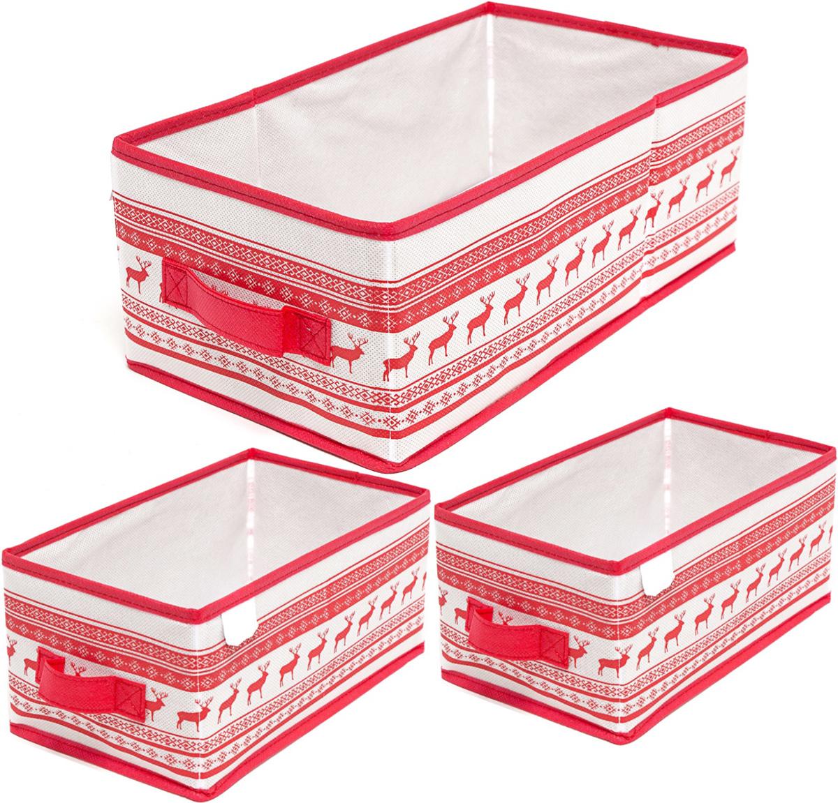 Набор ящиков Homsu Scandinavia, 3 штDEN-83Этот комплект состоит из 3х универсальных коробочек для хранения любых вещей, оптимальный размер которых позволяет хранить в них любые вещи и предметы. Все они имеют жесткие борта, что является гарантией сохраности вещей. 280x140x130; 280x140x130; 370x200x130