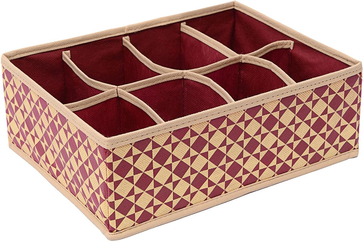 Органайзер Homsu Bordo, 8 секций, 31 х 21 х 11 смHOM-778Прямоугольный и плоский органайзер имеет 8 раздельных ячеек размером 12Х8см, очень удобен для хранения вещей среднего размера в ящике или на полке. Идеально для белья, шапок, рукавиц и других вещей ежедневного пользования. Имеет жесткие борта, что является гарантией сохранности вещей. 310x210x110