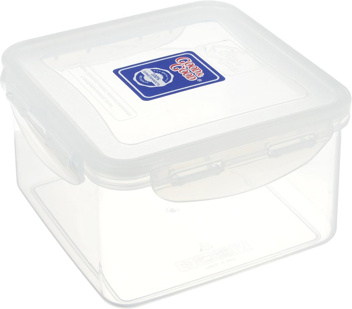 Контейнер Good&Good, цвет: прозрачный, 1,25 лS2-2_прозрачныйКвадратный контейнер Good&Good изготовлен из высококачественного полипропилена и предназначен для хранения любых пищевых продуктов. Благодаря особым технологиям изготовления, изделие в течение всего времени службы не меняет цвет и не пропитывается запахами. Крышка с силиконовой вставкой герметично защелкивается специальным механизмом. Контейнер Good&Good удобен для ежедневного использования в быту. Можно мыть в посудомоечной машине, использовать в СВЧ при температуре не выше 100°С, пригоден для хранения в морозильной камере при температуре не ниже 20°С.