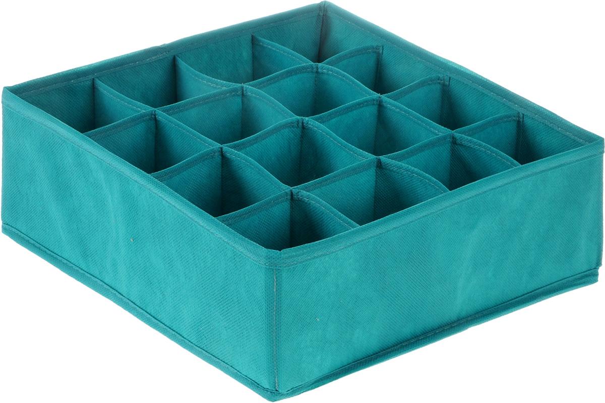 Органайзер Все на местах Minimalistic, цвет: бирюзовый, 16 ячеек, 32 х 32 х 12 см1012043.Органайзер Все на местах Minimalistic сшит из плотного нетканого материала, в дно органайзера вшита молния, позволяющая складывать и убирать его, если в нем отпала необходимость. Изделие с 16 квадратными секциями поможет вам хранить колготы, носки, трусы в идеальном порядке. Теперь все носки или все мелкие предметы нижнего белья поместятся в одном органайзере. Внутренние перегородки в коробе мягкие, что позволяет вещам легко разместиться внутри, наружные стенки укреплены пластиком, и поэтому короб отлично держит форму. Специально создан для использования в комодах и выдвижных ящиках. В сочетании с другими органайзерами позволит создать подходящую именно вам, максимально удобную и красивую систему хранения вещей, одежды и белья.