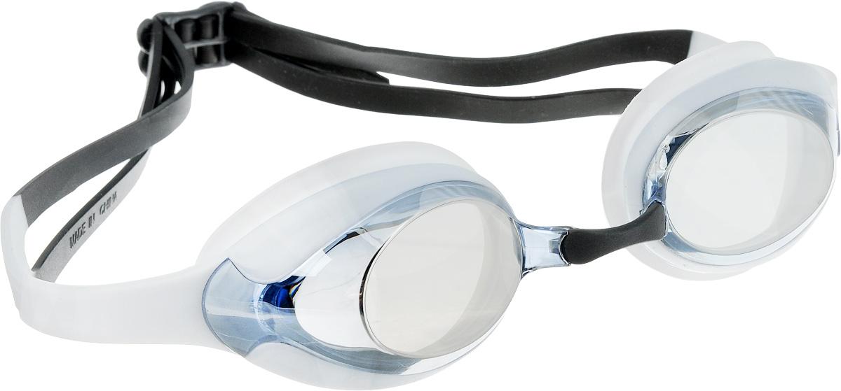 Очки для плавания Speedo Merit Mir Gog, цвет: белый, голубой27739307Удобные очки для спортивного плавания с двойным силиконовым ремешком. Гипоаллергенные силиконовый уплотнитель и ремешок очков. Сменные носовые дужки для индивидуальной подстройки. Линзы с зеркальным покрытием снижают яркость бликов в воде. AntiFog препятствует запотеванию линз.