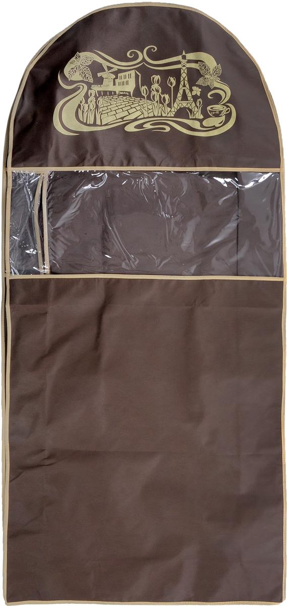 Чехол для шуб Все на местах Париж. Lux, длинный, цвет: темно-коричневый, бежевый, 130 х 58 х 18 см1002032.Чехол Все на местах Париж. Lux изготовлен из сочетания спанбонда и ПВХ и предназначен для хранения шуб. Нетканый материал чехла пропускает воздух, что позволяет изделиям дышать. Благодаря пластиковым вставкам чехол идеально держит форму и его стенки не соприкасаются с мехом изделия и не приминают его. С таким чехлом шуба надежно защищена от моли, пыли и механического воздействия. Застегивается на застежку-молнию. Материал: спанбонд, ПВХ.