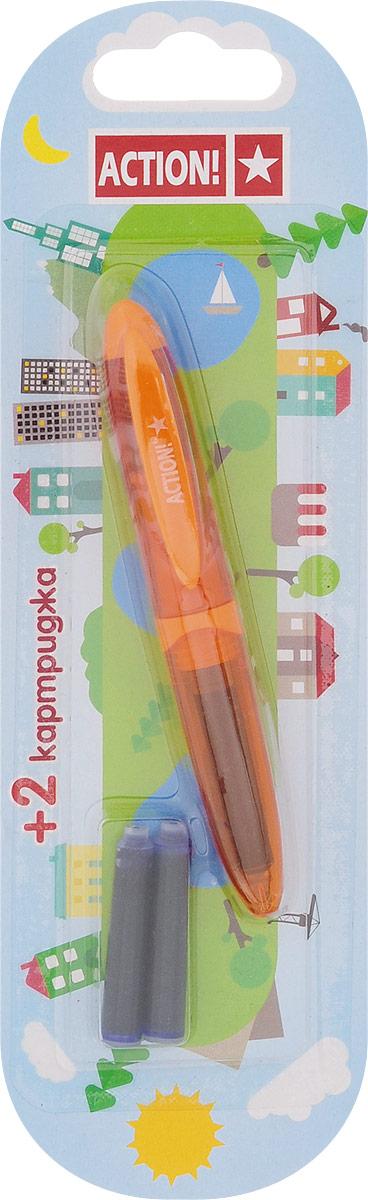 Action! Ручка перьевая с двумя картриджами цвет корпуса оранжевый AFP1037AFP1037_оранжевыйПерьевая ручка Action! позволит ребенку почувствовать себя совсем взрослым, а также поможет выработать навыки каллиграфии и исправить неровный почерк. Перьевая ручка Action! с запасными картриджами отличается от взрослых ручек широким пластиковым корпусом и эргономичной зоной захвата. В комплекте три чернильных картриджа - один в ручке и два запасных в блистерном отсеке.
