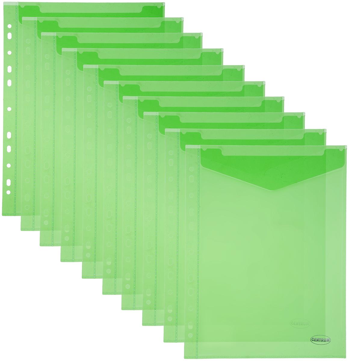 Centrum Папка-конверт с перфорацией цвет зеленый 10 шт80630_зеленыйВертикальная папка-конверт Centrum - это удобный и практичный офисный инструмент, предназначенный для хранения и транспортировки рабочих бумаг и документов формата А4. Она изготовлена из полупрозрачного матового пластика, имеет боковую перфорацию. В комплект входят 10 папок формата А4. Папка-конверт - это незаменимый атрибут для студента, школьника, офисного работника. Такая папка надежно сохранит ваши документы и сбережет их от повреждений, пыли и влаги.