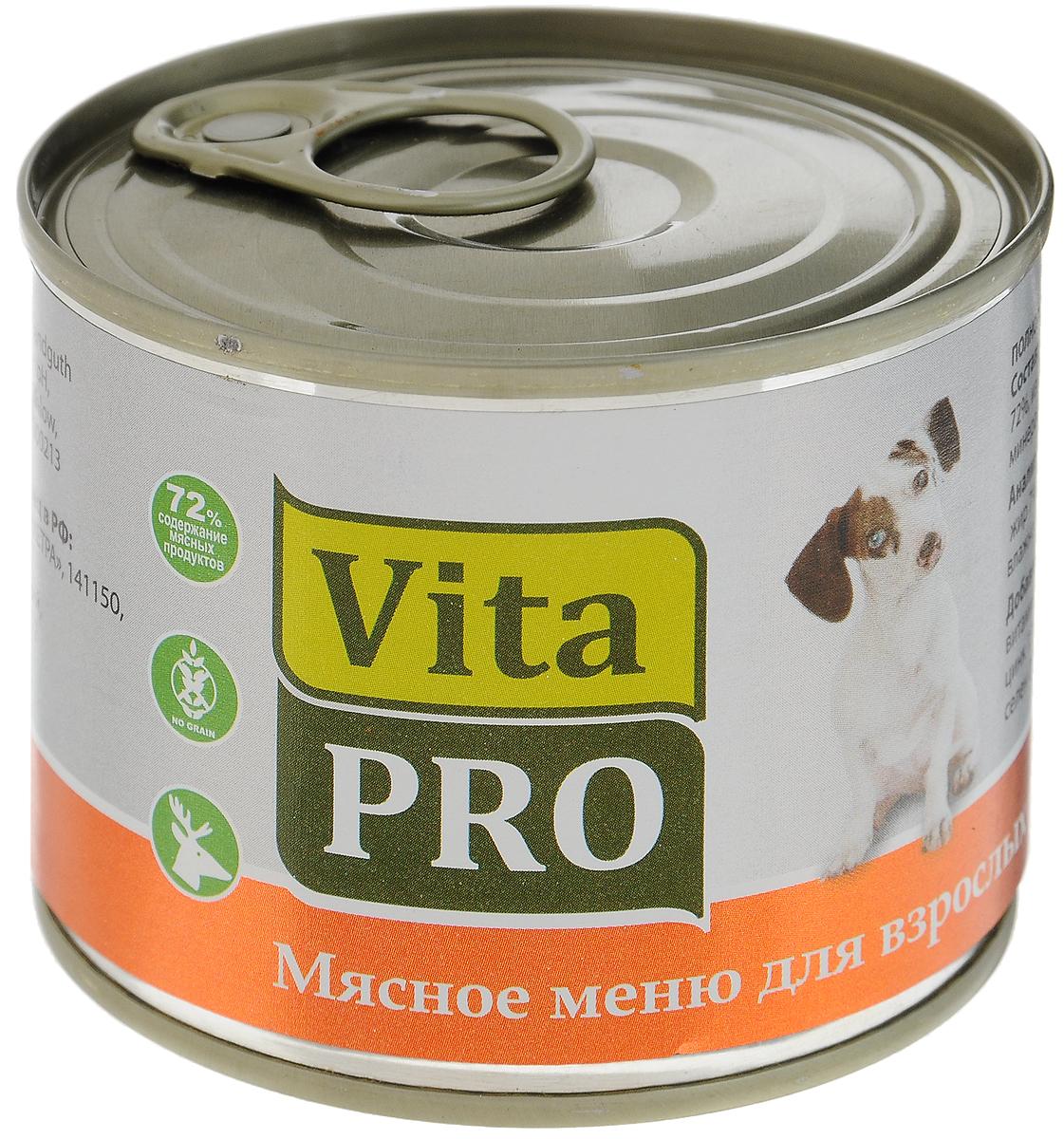 Консервы Vita ProМясное меню для собак, дичь, 200 г90009Корм из натурального мяса без овощей и злаков с добавлением кальция для растущего организма. Не содержит искусственных красителей и усилителей вкуса. Крупнофаршевая текстура.