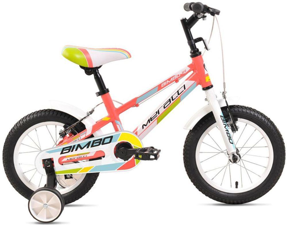 Велосипед Meratti Bimbo 14, цвет: розовый332254Рама: алюминий Вилка: жёсткая, алюминий Количество скоростей: 1 Размер колес: 14 Резина: 14х2.125 BMX PATTERN Передний переключатель: нет Задний переключатель: нет Обода: стальные усиленные 14 Тормоза: ободные Дополнительное оборудование: дополнительные колёса