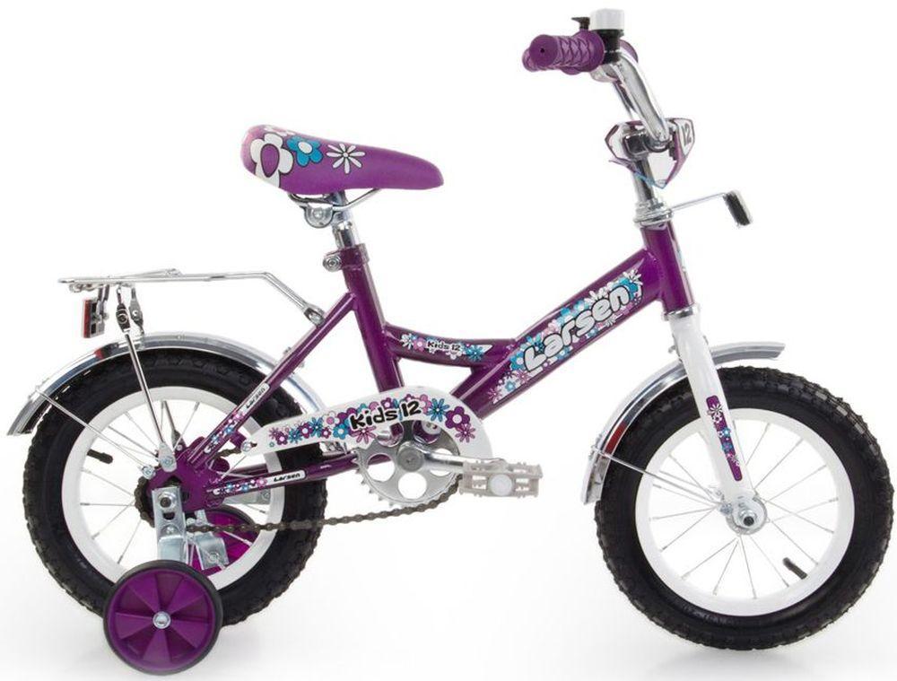 Велосипед детский Larsen Kids 12, цвет: фиолетовый336207Рама: cталь Вилка: жёсткая, сталь Количество скоростей: 1 Размер колес: 12 Резина: 12х2.125 BMX PATTERN Передний переключатель: нет Задний переключатель: нет Обода: стальные усиленные 12 Тормоза: втулочные, ножные тормоза Дополнительное оборудование: гудок, отражатели, дополнительные колёса