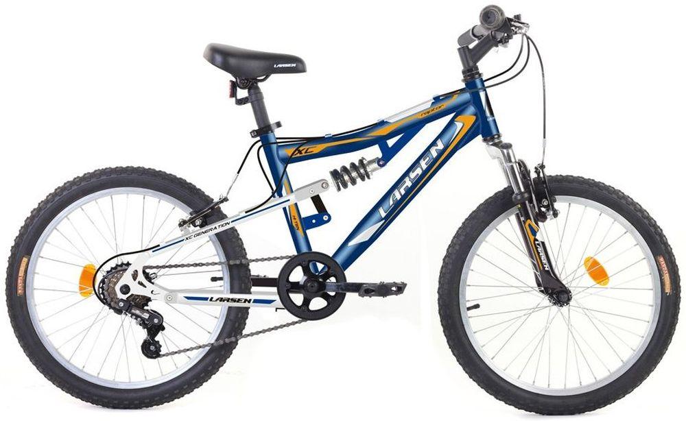 Велосипед Larsen Raptor 20, цвет: синий, белый336231Рама: сталь, двухподвес Вилка: Zoom bravo-327l Количество скоростей: 6 Размер колес: 20 Резина: Wanda p104(A),20х2.125 Передний переключатель: нет Задний переключатель: Sunrace RDM2T Шифтеры: Sunrace TSM28 Обода: алюминий 6061-t6 Втулка передняя: SF-HB03FQR Втулка задняя: Anteng kt-122rqr Тормоза: V - образные Дополнительное оборудование: подножка, отражатели, крылья