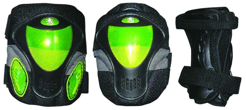 Защита роликовая Larsen P9B, цвет: зеленый. Размер M202501Материал: полипропилен, полиэстер В комплекте: налокотники-2 шт., наколенники-2 шт., защита запястья-2 шт.